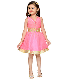 Adiva Sleeveless Party Wear Frock With Lace And Embellishments - Pink