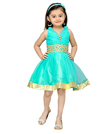 Adiva Sleeveless Party Wear Frock With Lace And Embellishments - Green