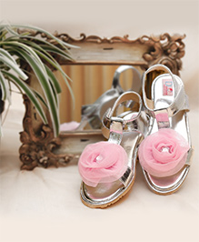 D'chica Gorgeous Sandals With Rose Flower - Silver & Pink