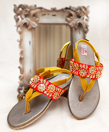 D'chica Blingy Chic Sandals - Red & Yellow