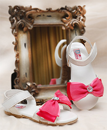 D'chica Blingy Chic Sandals With Bow - Fuschia & White