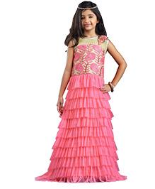 Peek-a-Boo Ruffle Style Gown - Beige & Pink