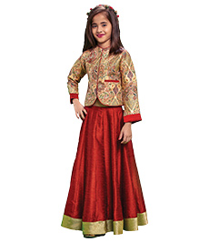 Peek-a-Boo Crop Top & Lehenga - Maroon & Red