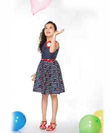 Peek-a-Boo Printed Dress - Navy Blue