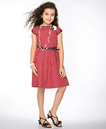 Peek-a-Boo Heart Printed Dress - Red