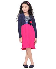 Peek-a-Boo Partywear Dress - Pink & Blue