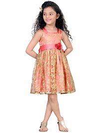 Peek-a-Boo Shimmer Floral Partywear Dress - Peach