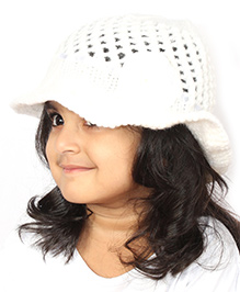 Magic Needles Handknitted Hat For Girls - White