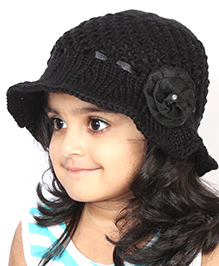 Magic Needles Handknitted Hat For Girls - Black