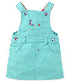 Beebay Dungaree Style Frock Floral Embroidery - Sea Green