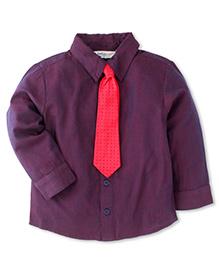 Beebay Full Sleeves Shirt With Tie - Purple