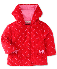 Beebay Hooded Jacket Bow Design - Red