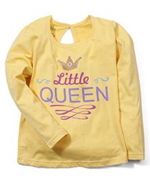 Babyhug Full Sleeves Top Little Queen Print - Yellow
