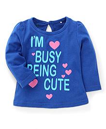 Babyhug Full Sleeves Top Being Cute Print - Blue