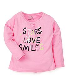 Babyhug Full Sleeves Top Stars Love Smiles Print - Pink