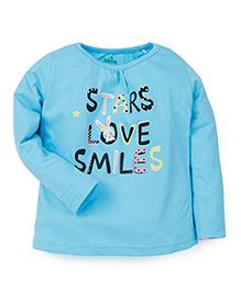 Babyhug Full Sleeves Top Stars Love Smiles Print - Sky Blue
