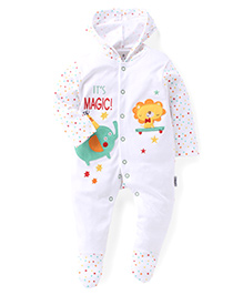 Child World Full Sleeves Hooded Footed Romper Magic Print - White & Green