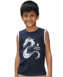 Snowflakes Sleeveless Dragon Print T-Shirt - Blue