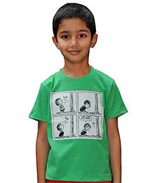 Snowflakes Half Sleeves Comic Strip Print T-Shirt - Green