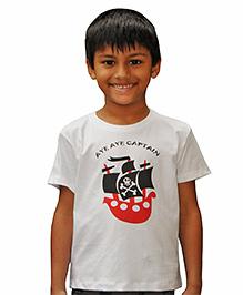 Snowflakes Half Sleeves Pirate Ship Print T-Shirt - White