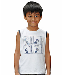 Snowflakes Sleeveless Comic Strip Print T-Shirt - White