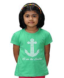 Snowflakes Half Sleeves Anchor Print T-Shirt - Green
