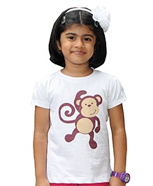 Snowflakes Half Sleeves Monkey Print T-Shirt - White