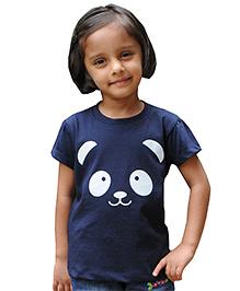 Snowflakes Half Sleeves Panda Print T-Shirt - Navy Blue