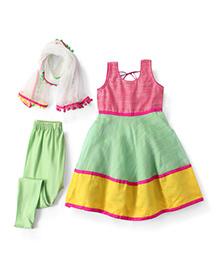 Kids Chakra Chanderi Salwar Kurta & Dupatta Set - Green Yellow & Pink