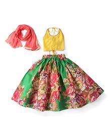 Kids Chakra Floral Print Ghagra Choli & Dupatta Set - Green