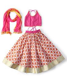 Kids Chakra Leaf Ghagra Choli & Dupatta Set - Pink
