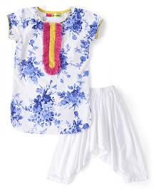 Kids Chakra Flower Print Kurta & Patiala Set - Blue & White