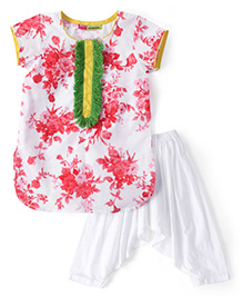 Kids Chakra Flower Print Kurta & Patiala Set - Red & White