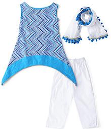 Kids Chakra Block Print Leggings & Dupatta Set  - Blue