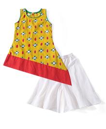 Kids Chakra Aztec Pattern Palazzo & Kurti Set- Yellow