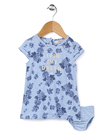 Fox Baby Short Sleeves Frock With Bloomer Floral Print - Sky Blue