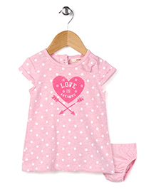 Fox Baby Short Sleeves Frock With Bloomer Love is Awesome Print - Pink
