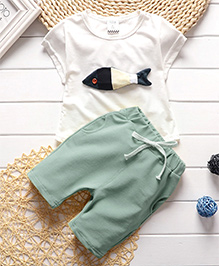 Pre Order : Dells World Fish Print Clothing Set - White & Blue