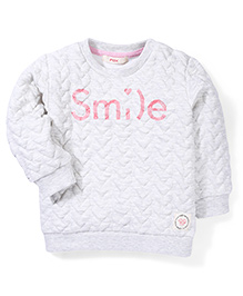Fox Baby Full Sleeves Winter Wear T-Shirt Smile Print - Grey