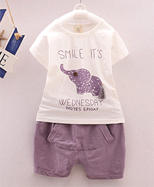 Dells World Elephant Print Clothing Set - Lavender & White