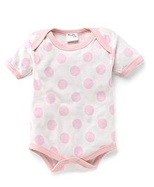 Playbeez Big Polka Dot Print Onesie - Peach & Off White