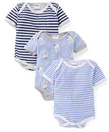Playbeez Pack Of 3 Bear Hugs & Striped Print Bodysuits - Blue