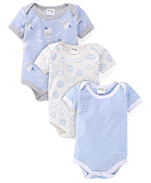 Playbeez Pack Of 3 Clouds Striped & Bear Hug Onesie - Blue & White
