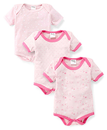 Playbeez Pack Of 3 Love & Stars Print Bodysuits - Multi Color