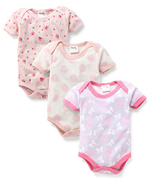 Playbeez Pack Of 3 Flowers & Polka Dot Print Onesie - White & Pink