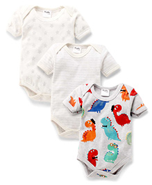 Playbeez Pack Of 3 Dinosaur & Star Print Bodysuits - Multi Color