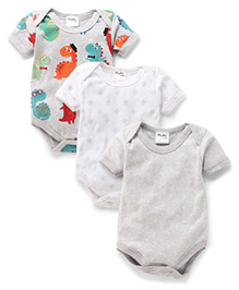 Playbeez Pack Of 3 Dinosaurs & Star Print Onesie - Multi Color