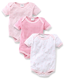 Playbeez Pack Of 3 Rose, Stars & Stripe Print Onesie - Multi Color