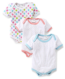 Playbeez Pack Of 3 Polka Dot Print Onesie - Multi Color