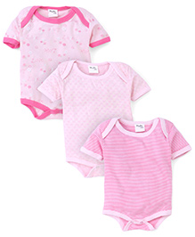 Playbeez Pack Of 3 Love Stripes And Heart Print Bodysuits - Pink